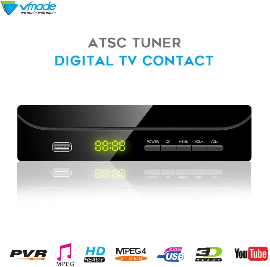 Vmade ATSC Digital TV Converter Box for Analog TV w/1080p HDMI Output,USB Multimedia Playback and HDTV Set Top Box