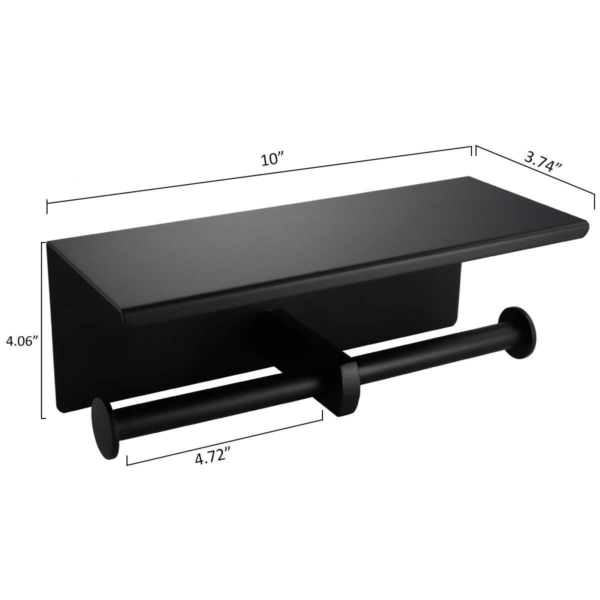 Portarrollos de papel higi/énico de doble rollo color negro mate Weaverbird acero inoxidable SUS304 con estante de almacenamiento para tel/éfono m/óvil