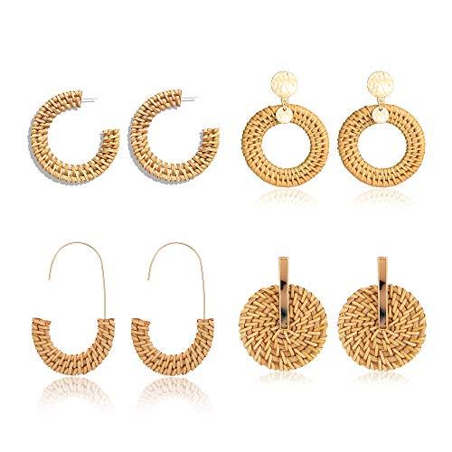 (BSJELL 4 Pairs Rattan Earrings Set Boho Straw Woven Earrings Handmade Wicker Drop Earrings Dangle Geometric Statement Earrings for Women Girls)