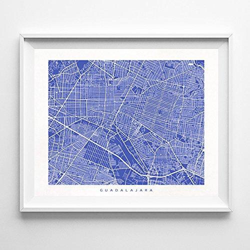 Guadalajara Mexico Street Road Map Poster Wall Art Print  Mo