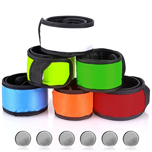 SENHAI LED Slap Bracelets Wrist Light for Running Riding Walking, Pack of 6 Armbands Glow Snap Bracelets, 6, with 6 Extra Button Battery
