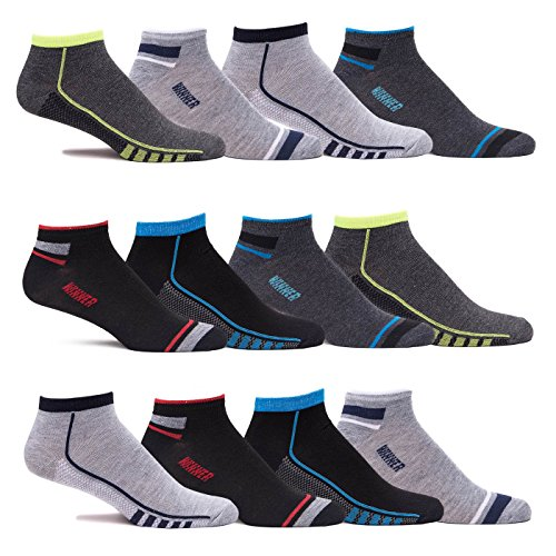 Mens Multi Color Lightweight Stretch Low Cut Casual Athletic Ankle Socks (12 Pr) (Large - Shoe Size: 8-12/Sock Size 10-13, Black / Grey A) - Lightweight Low Cut Socks