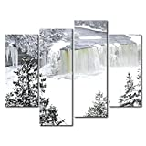 YEHO Art Gallery Painting Tahquamenon Falls Ice Trees Cover Thick Snow Print On Canvas The Picture Landscape Pictures