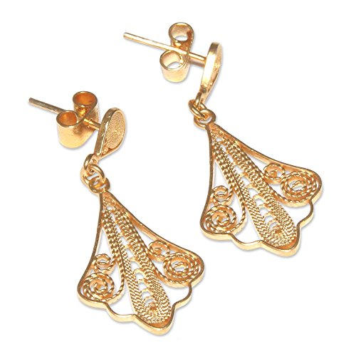 (NOVICA 21k Yellow Gold Plated .925 Sterling Silver Dangle Earrings 'Spanish Lace')