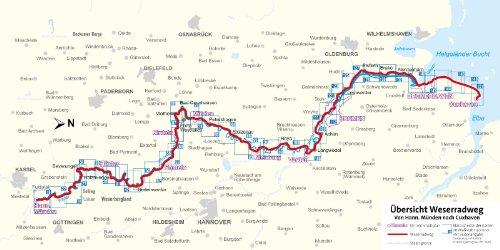 Weser Radweg Karte.Weserradweg Von Hann Münden Nach Cuxhaven Fahrradführer Mit Top