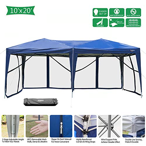 - VINGLI 10x20ft Easy Pop Up Canopy Tent w/ 6 Removable Zippered Mesh Sidewalls & Portable Wheeled Carrying Bag, for Patio/Gazebo/Camping/Outdoor Activities, Blue UV Coated Sun Shade Shelter
