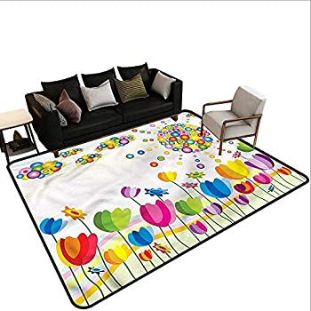 Image of Abstract,Floor Mat Entrance Doormat 80'x 120' Abstract Flower Summer Carpet mat Home and Kitchen