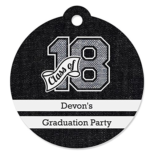 Big Dot of Happiness Custom All Star Grad - Personalized 2018 Graduation Party Favor Gift Tags - Set of - Tags Football Bag