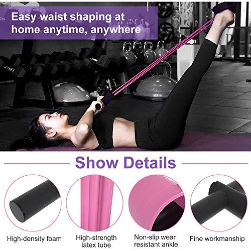 MEYUEWAL Multi-Function Tension Rope Upgrade 6 Röhren Elastische Fitness mit Pedalen Griffe Latex-Saiten Widerstandsausrüstung für Home Gym Office (Lila)