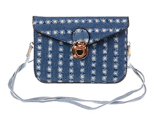 Dragonfly Denim (Big Dragonfly(TM)Soft PU Leather and Denim Crossbody Wallet Case Cover with Removable Shoulder Strap and Clasp Button for Apple iPhone 6 4.7 inch 5.5 inch Samsung Galaxy S6, Note 4,)