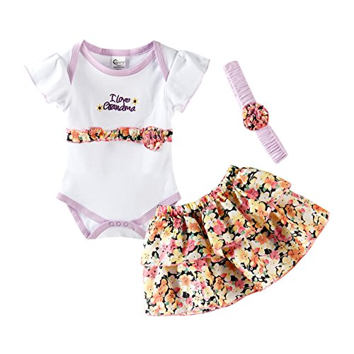 - Mud Kingdom Cute Thanksgiving Baby Girl Outfits 6-9 Months Clothes Sets I Love Grandma 9M Floral Violet