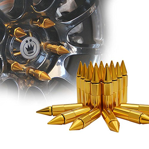 Xprite Gold Aluminum Mounted 90mm Spike Extended Nut Refit Wheel Lug Nuts / Tire Screw M12x1.5