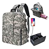 DSLR SLR Camera Backpack for Women Men Waterproof Camera Bag with Laptop for Canon Nikon Sony (Dark Gray)