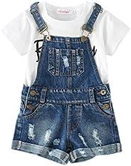 Chumhey Big&Little Girls 2Pc Big Bib Jeans Summer Shortalls Set T-Sh
