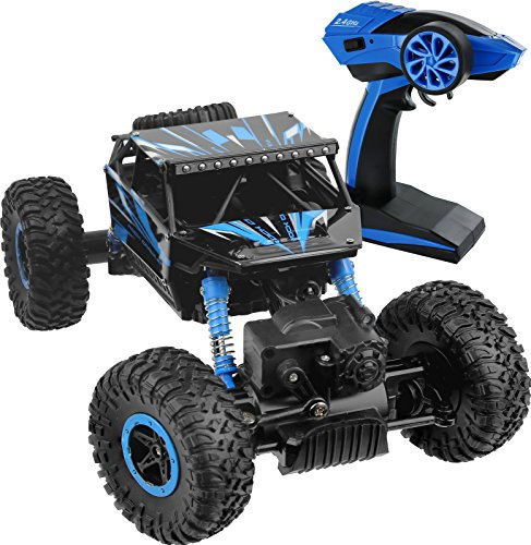 Click N' Play Remote Control Car 4WD Off Road Rock Crawler Vehicle 2.4 GHz, Blue