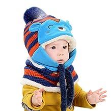Baby Winter Warm Hats Kids Woolen Coif Girls Boys Hood Scarf Caps - Blue