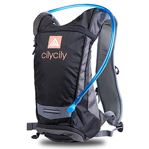 cilycily Hydration Backpack with 2L BPA Free Bladder Great for Outdoor Sports of Running Hiking Camping Cycling Skiing … (Black)