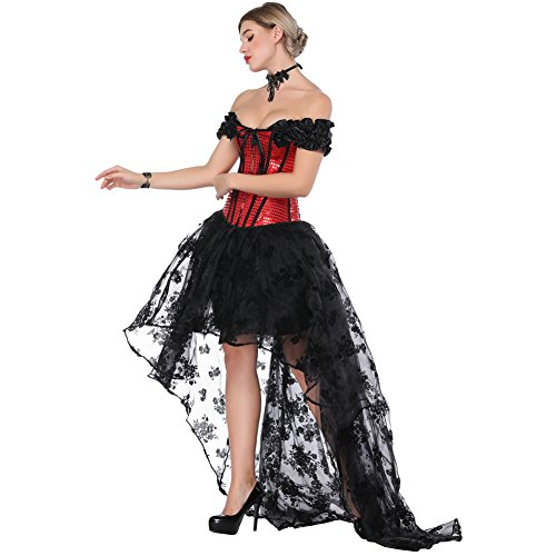De Bal Feelingirl Toussaint Cosplay Femme Gothique Tête Robe Sexy Corset Costumé S Noel Rouge 6xl BYqgB