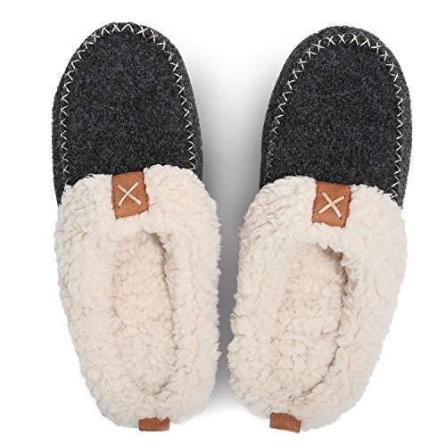 LongBay Women's Wool Felt Sherpa Memory Foam Slippers with Plush Fleece Lining Slip on Moc Clogs Indoor Or Outdoor