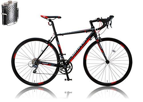 CANOVER(カノーバー)ロードバイク 700C シマノ16段変速 CAR-011(ZENOS) ステンレスボトル&ケージセット 軽量クランク アルミフレーム フロントLEDライト付 [メーカー保証1年] B01A553VX2ブラック