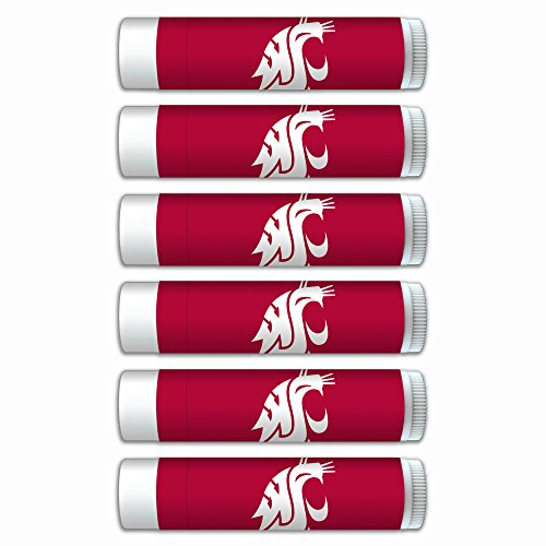 NCAA Washington State Cougars Premium Lip Balm 6-Pack Featuring SPF 15, Beeswax, Coconut Oil, Aloe Vera, Vitamin E. NCAA Gifts for Men and Women, Mother's Day, Fathers Day, Easter, Stocking Stuffers