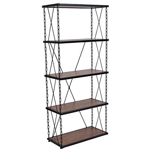 - Flash Furniture Vernon Hills Collection Antique Wood Grain Finish Four Shelf Bookshelf with Chain Accent Metal Frame