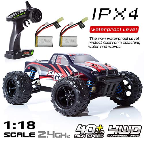 Exercise N Play RC Car, Remote Control Car, Terrain RC Cars, Electric Remote Control Off Road Monster Truck, 1:18 Scale 2.4Ghz Radio 4WD Fast 30+ MPH RC Car, with 2 Rechargeable Batteries ()