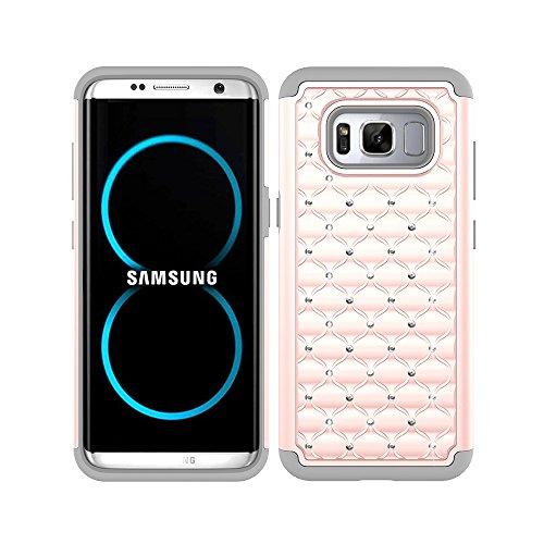 8 Case, MagicSky [Shock Absorption] Studded Rhinestone Bling Hybrid Dual Layer Armor Defender Protective Case Cover For Samsung Galaxy S8(Rose Gold/Grey)