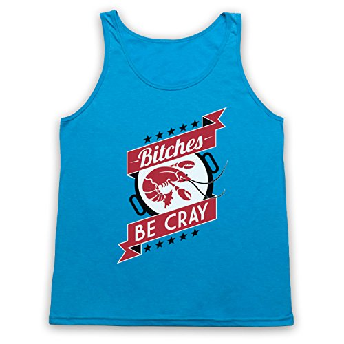 Bitches Be Cray Crayfish Tank-Top Weste, Neon Blau, Small