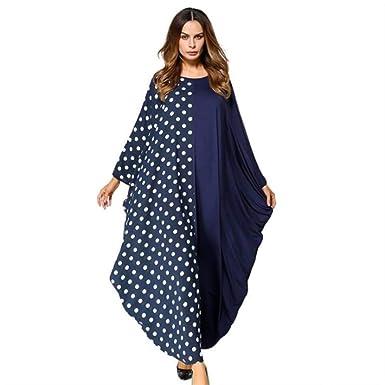 b6a28992f19b Moslim Abayas Dubai Women Large Size Clothing Dot Patchwork 2018 Long Dress  Kaftan Islamic Maxi Dresses