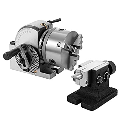 Mophorn Dividing Head BS-0 5Inch 3 Jaw Chuck Dividing Head Set Precision Semi Universal Dividing Head for Milling Machine Rotary Table Tailstock Milling Set