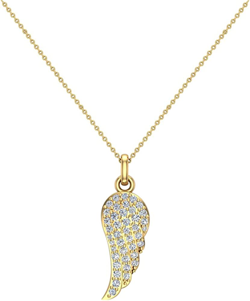 Angel Wings 14K gold Diamond Necklaces for women-girls Charm w/o Chain Gift Box Authenticity Cards (G, VS)