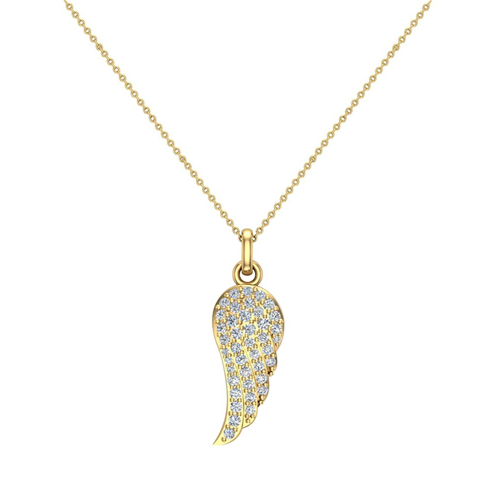 0.47 ct tw Angel Wing Diamond Pendant Necklace 14K Yellow Gold