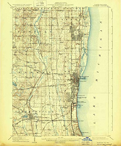 YellowMaps Waukegan IL topo map, 1:62500 Scale, 15 X 15 Minute, Historical, 1908, Updated 1929, 19.9 x 16.4 in - Polypropylene