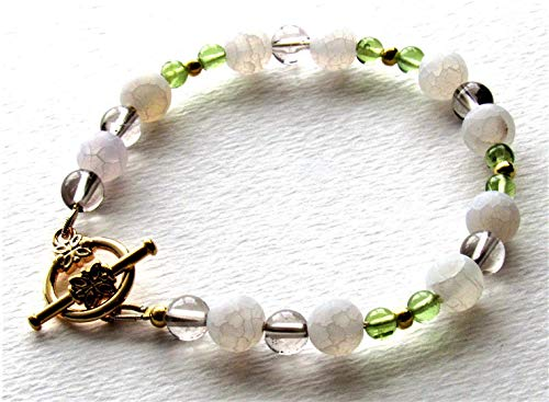 Smoky Quartz Toggle Bracelet - White Frosted Crackle Quartz, Smoky Quartz and Peridot Gemstone Toggle Bracelet, 7 inch