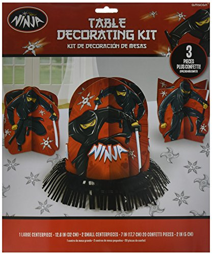 Amscan Boys Black Ninja Birthday Party Table Decorating Kit (23 Piece), Multicolor, One Size by Amscan