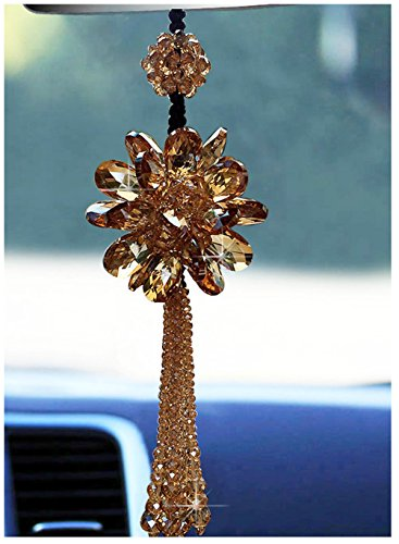 Jiangsheng Luckly Crystal Glass Flower Car Hanging Ornament Car Rear View Mirror Pendant Car Accessories (Champagne)