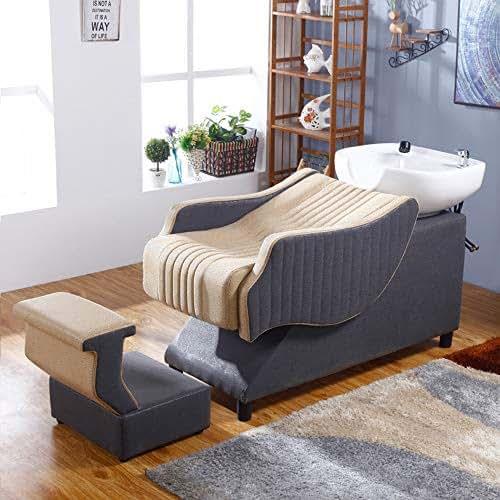 DNNAL Shampoo Barber Backwash Chair, Leather Semi-Recumbent Shampoo Bowl Sink Chair for Spa Beauty Salon Equipment Hair Beauty Bed