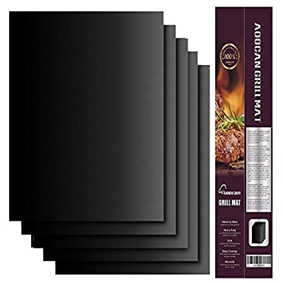Aoocan Grill Mat Set of 5- 100% Non-stick BBQ Grill & Baking Mats - FDA-Approved, PFOA Free, Reusable and Easy to Clean - Works on Gas, Charcoal, Electric Grill and More - 15.75 x 13 Inch from Aoocan