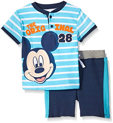 French Terry Short Set (Disney Baby-Boys The Original Mickey Mouse French Terry Short Set,Blue,12m)