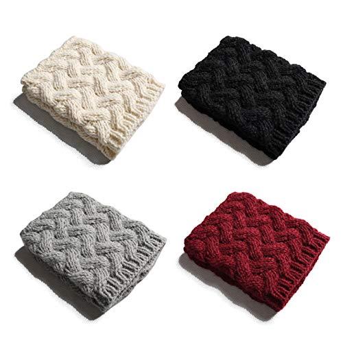 QH-shop Boot Manschetten Grobe Nadel Crochet Knit Einfarbig Kurze Beinlinge Winter Warme Stiefelmanschetten Stulpen Socken für Damen Mädchen 4 Paar