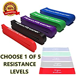Fitness Dreamer Resistance Workout Pull Up and Fitness Band(s) for Exercise with Mini Band(s), Instructional eGuide and Videos #1, Red (5-35 lbs, 1/2'' H)