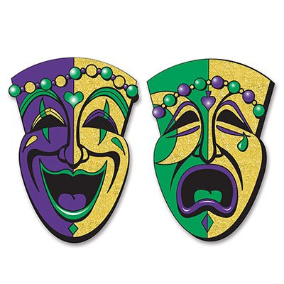 Large Mardi Gras Mask (Beistle 54550 2-Pack Jumbo Glittered Comedy and Tragedy Faces,)