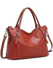 Kattee Women's Genuine Leather Tote Shoulder Bag Top Handle Handbag Crossbody Satchel Purse Large Capacity