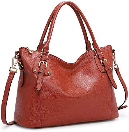 Kattee Women's Genuine Leather Handbags Shoulder Tote Organizer Top Handles Crossbody Bag Satchel Designer Purse (Large, Red)