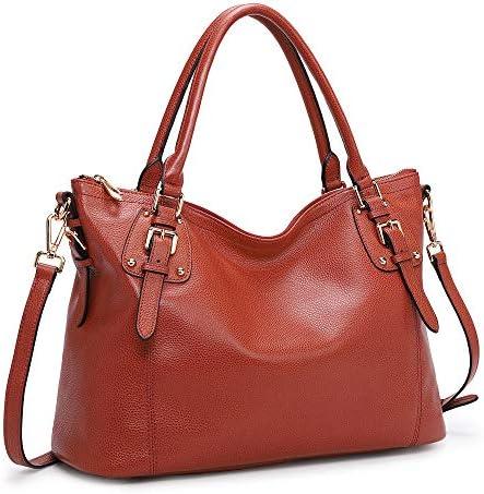 Kattee Women's Genuine Leather Handbags Shoulder Tote Organizer Top Handles Crossbody Bag Satchel Designer Purse (Large, Red)