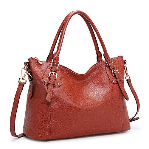 Kattee Women's Genuine Leather Handbags Shoulder Tote Organizer Top Handles Crossbody Bag Satchel Designer Purse Large Capacity (Red)