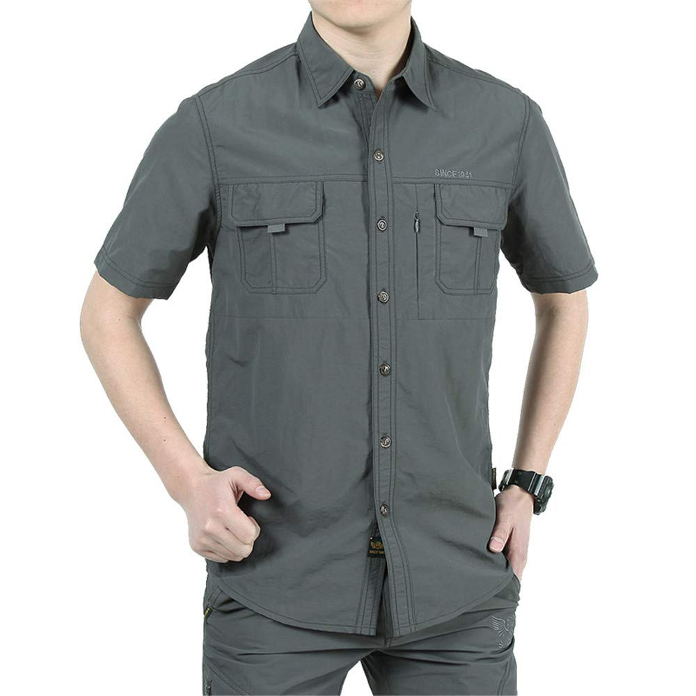 XJLE Mens Printed Relaxed-Fit Casual Button Down Short Sleeve Shirt