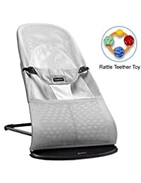 Baby Bjorn 005029US Bouncer Balance Soft- Mesh Silver White with Rattle Teether Toy BOBEBE Online Baby Store From New York to Miami and Los Angeles