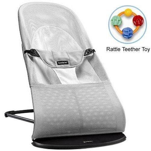 Baby Bjorn 005029US Bouncer Balance Soft- Mesh Silver White with Rattle Teether Toy by BabyBjörn